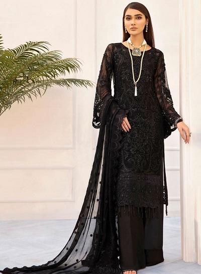Stylish Lace Black Salwar Suit With Net Dupatta For Women