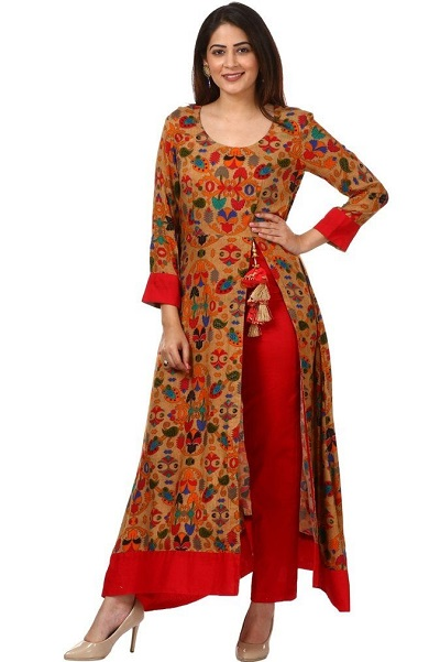 Stylish Printed Red Side Slit Kurti With Trouser Pants