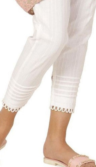 White cotton looped design ankle length pan
