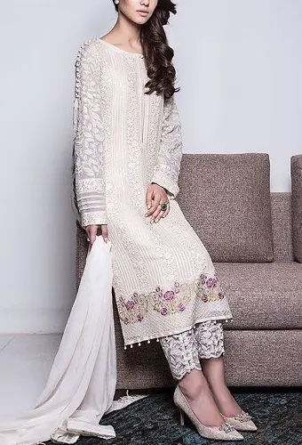 Embroidered Net Fabric Suit Salwar In White Color