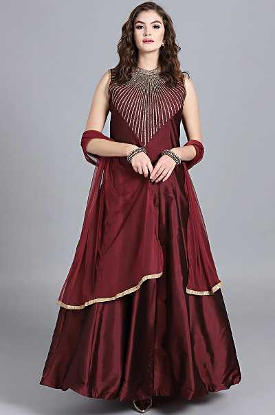 Sleeveless party wear Anarkali suit for ladies