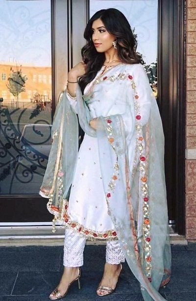 White Party Wear Satin Suit Salwar For Women
