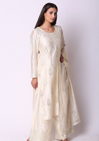 White Salwar Suit For Women In Silk Fabric