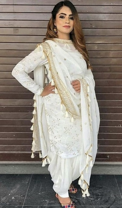 White Suit With White And Gold Dupatta Punjabi Style